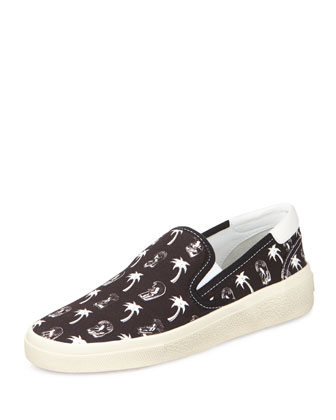 Surf & Palm-Print Slip-On Sneaker, Black/White