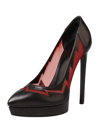 Janis Lightning Mesh Pointed Pump, Black/Red