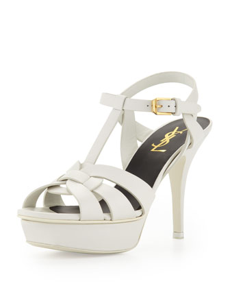 Tribute Leather Mid-Heel Platform Sandal, White