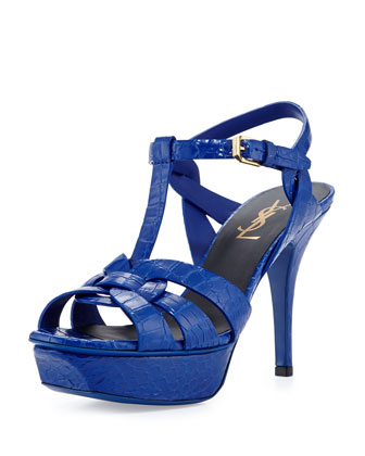 Tribute Two Mid-Heel Croc-Stamped Platform Sandal, Blue