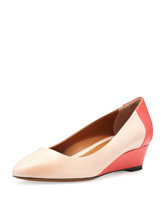 Leather Pointed-Toe Wedge