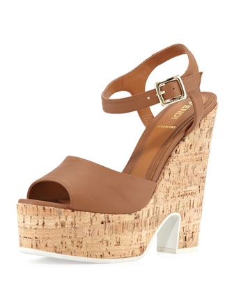 Platform Cork Wedge Sandal, Brown