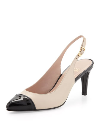 Cappy Point-Toe Napa Slingback, Pan