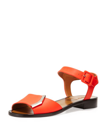 Leather Flat Logo Sandal