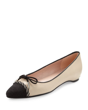 Capricorn Cap-Toe Bow Flat, Pan/Black