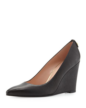 Logopower Point-Toe Wedge Pump, Black