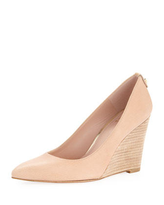 Logopower Point-Toe Wedge Pump, Flesh
