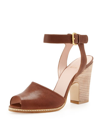Waycool Leather Open-Toe Sandal, Walnut
