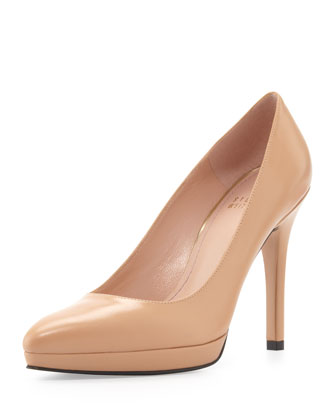 Zsazsa Point-Toe Leather Pump, Adobe