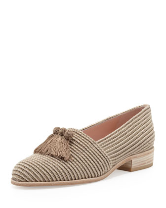 Pilates Stretch Loafer with Tassels, Taupe