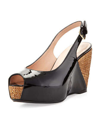 Topper Patent Wedge Sandal, Black