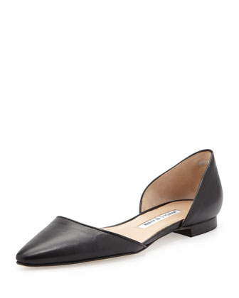 Soussa Point-Toe d'Orsay Flat, Black
