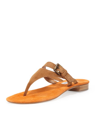 Primona Suede Thong Sandal, Tan/Orange