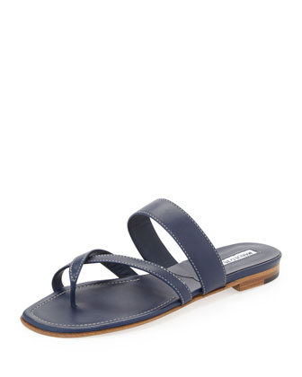 Susa Flat Leather Sandal, Navy