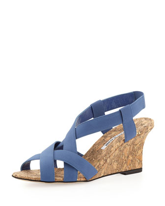Lastiwe Strappy Elastic Cork-Wedge Sandal, Dark Blue