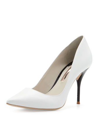 Lola Contrast-Heel Point-Toe Pump, White/Black