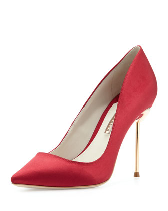 Coco 5 Satin Point-Toe Pump, Ruby