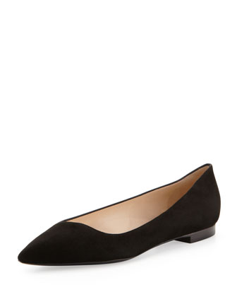 Pointed-Toe Suede Flat