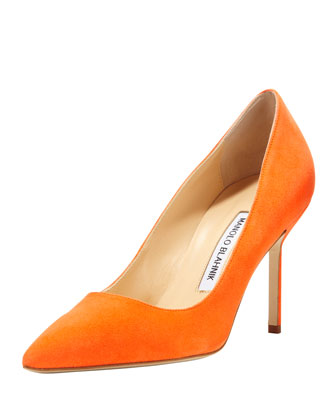 BB Suede 90mm Pump, Orange (Made to Order)