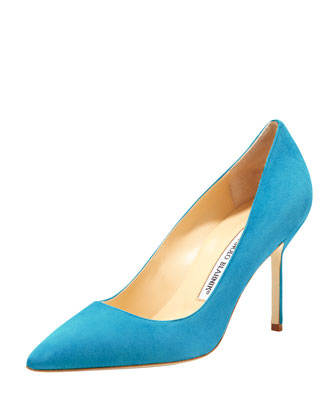 BB Suede 90mm Pump, Malibu Blue (Made to Order)