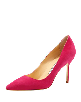 BB Suede 90mm Pump, Fuchsia (Made to Order)