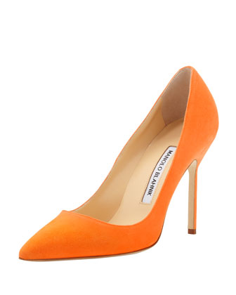 BB Suede 105mm Pump, Orange (Made to Order)