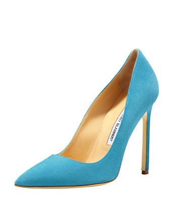 BB Suede 115mm Pump, Malibu Blue (Made to Order)