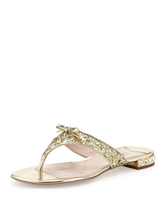 Glittered Crystal-Heel Thong Sandal