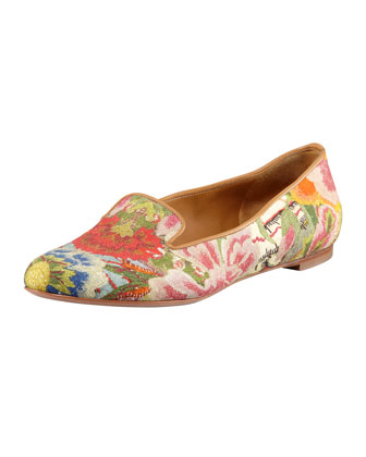 Floral-Print Cotton Smoking Slipper