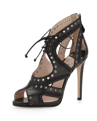 Napa Lace-Up Eyelet Sandal, Black