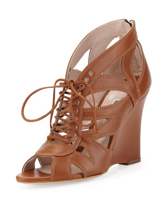 Lace-Up Leather Wedge Sandal, Tan