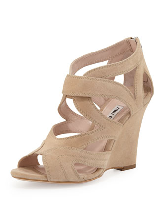 Strappy Suede Wedge Sandal