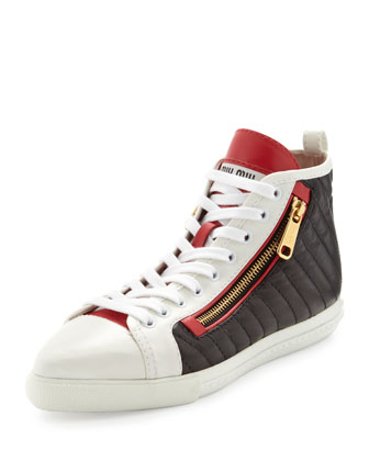 Quilted Side-Zip Sneaker, White/Black