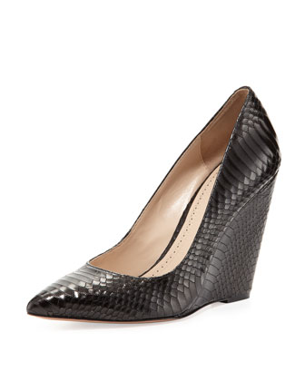 Lozanne Snake-Embossed Wedge Pump, Black