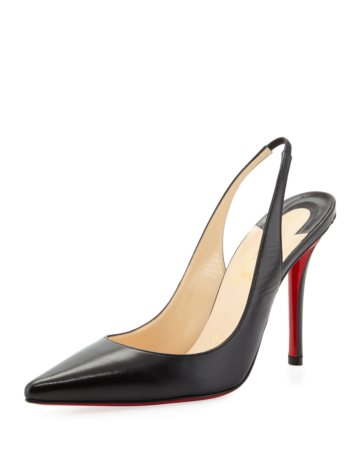Christian Louboutin Apostrophe Red-Sole Slingback Pump, Black