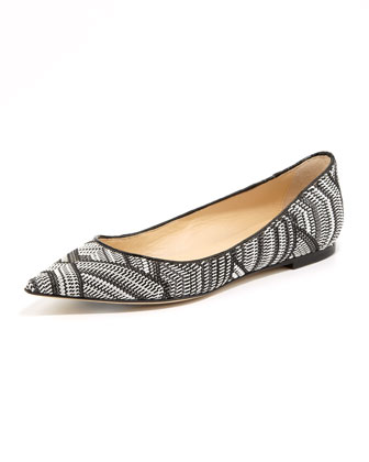 Alina Woven Point-Toe Flat