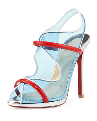 Aqua Ronda PVC Red Sole Sandal, Aquamarine