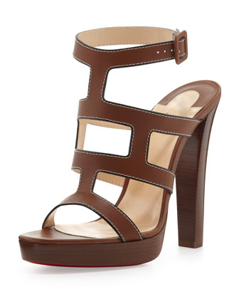 Cardamona Ankle-Wrap Red Sole Sandal, Cognac
