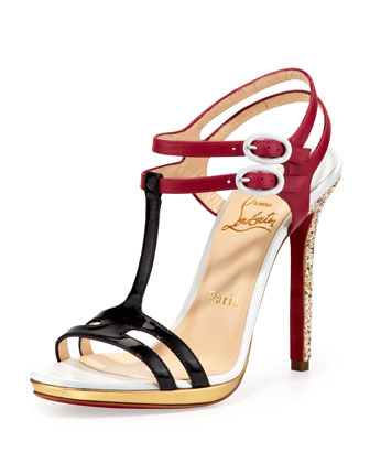 Double Tutti T-Strap Red Sole Sandal, Multicolor