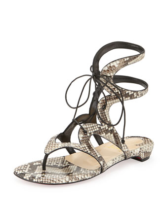 Girafina Ankle-High Python Gladiator Sandal, Black