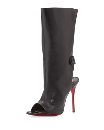 Mistinguetre Peep-Toe Mid-Calf Boot, Black