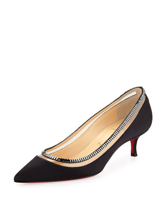 Paulina Red Sole Satin Low-Heel Pump, Black