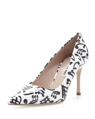 Patent Music Note Pump, White