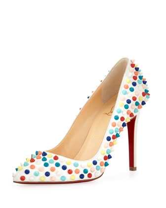 Pigalle Spikes Red Sole Pump, White Multi