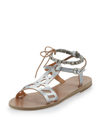 Ourania Metallic Beaded-Wrap Sandal