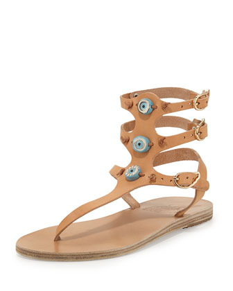 Eyes Triple-Strap Thong Sandal, Natural