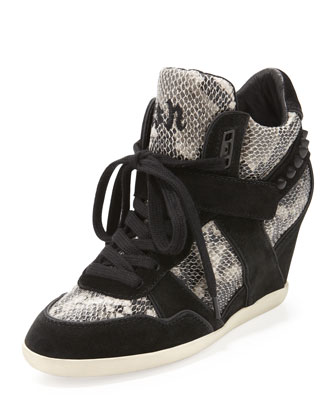 Bisou Snake-Print Wedge Sneaker, Black