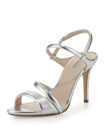 Asymmetric Metallic Strappy Sandal