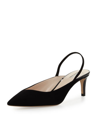 Suede Asymmetric Halter Pump, Black
