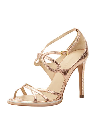 Leather Snake-Embossed Strappy Sandal